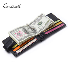 Fashion Black Money Clips Famous Brand High Quality Genuine Leather Men