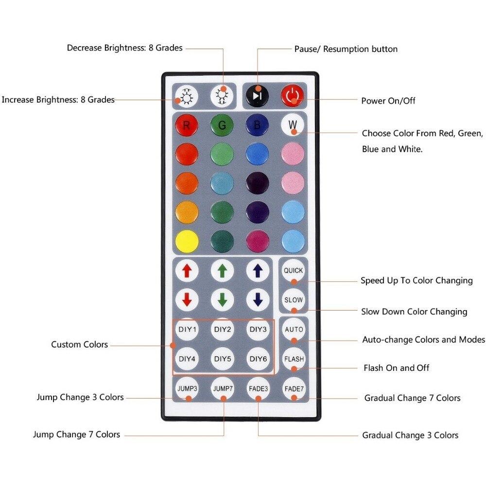 1 компл. светодиодный полосы Водонепроницаемый IP65 5 м 60 Светодиодный s Гибкая Light 5050 RGB + 44Key контроллер + 12 В 3A Питание полный комплект Красочны...