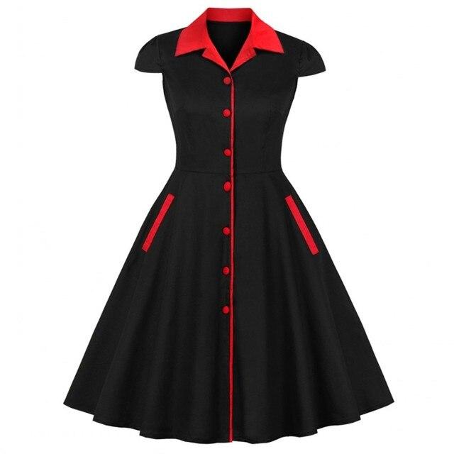 2019 Summer Women Vintage Cotton Dress Block Rockabilly Turn Down Cap  Sleeves Swing Retro Black Dress Party Feminino Vestidos 3d8e634bc6