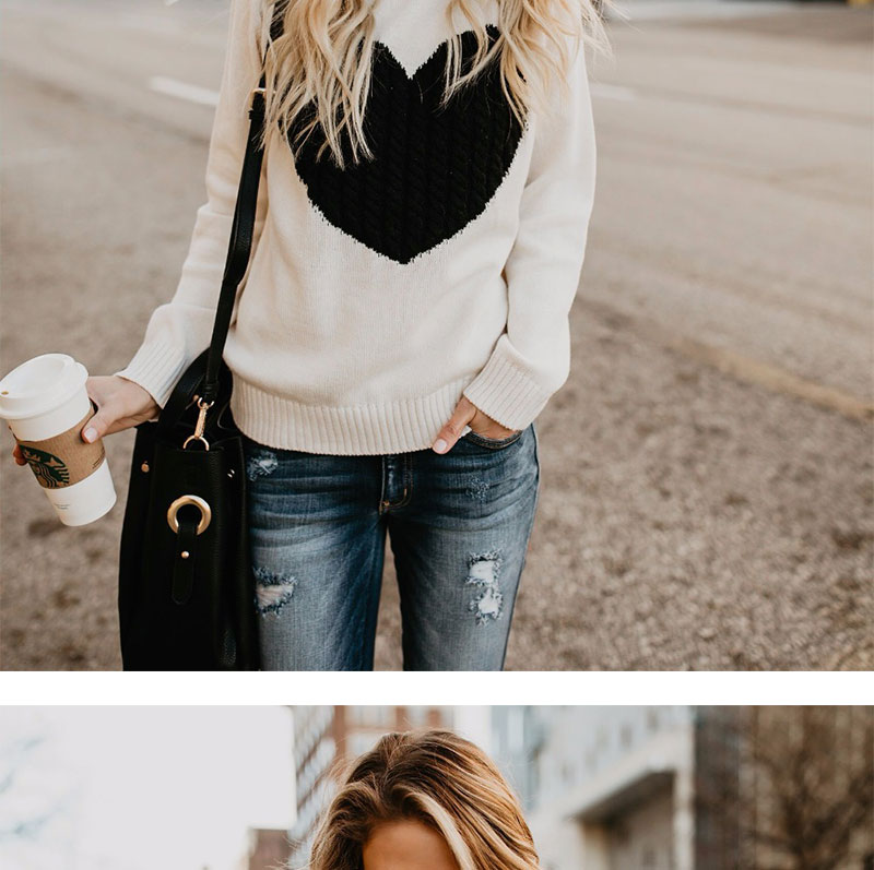 18 new winter white knitted sweater Women lantern sleeve loose gray pullover female Soft warm autumn casual love heart jumper 2