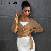 Glamaker Wraped Knitted Sweater Women Autumn Winter Chic Casual Sweater Jumper Loose Pullovers Cardigans Asymmetrical Hem