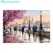 spotlight on paris Diamond Painting Full Round scenic portrait New DIY Sticking Drill Cross Embroidery 5D Oil painting style