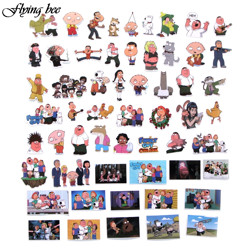 Image 3 - Flyingbee 55 Pcs Family Guy funny Anime Sticker Decals Scrapbooking Stickers for DIY Luggage Laptop Skateboard Car X0010-in Stickers from Consumer Electronics