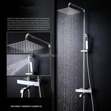 купить 100% Solid Brass Factory Direct Wall Mounted Chrome Square Style Bathtub Thermostatic Mixer Faucet Set Handheld Shower по цене 14962.59 рублей