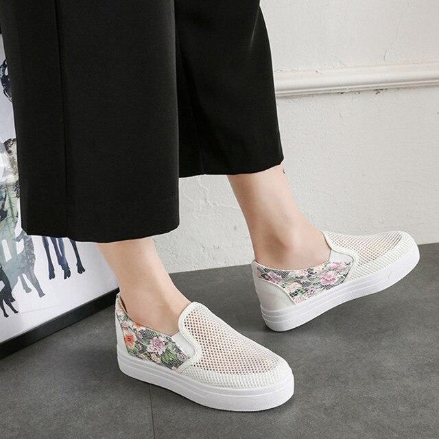 543941040c Flower Canvas Shoes Hot Sale Fashion Mesh Appliques Slipony Women Footwear  Height Increase Girl Female Comfort Slipon Women Shoe
