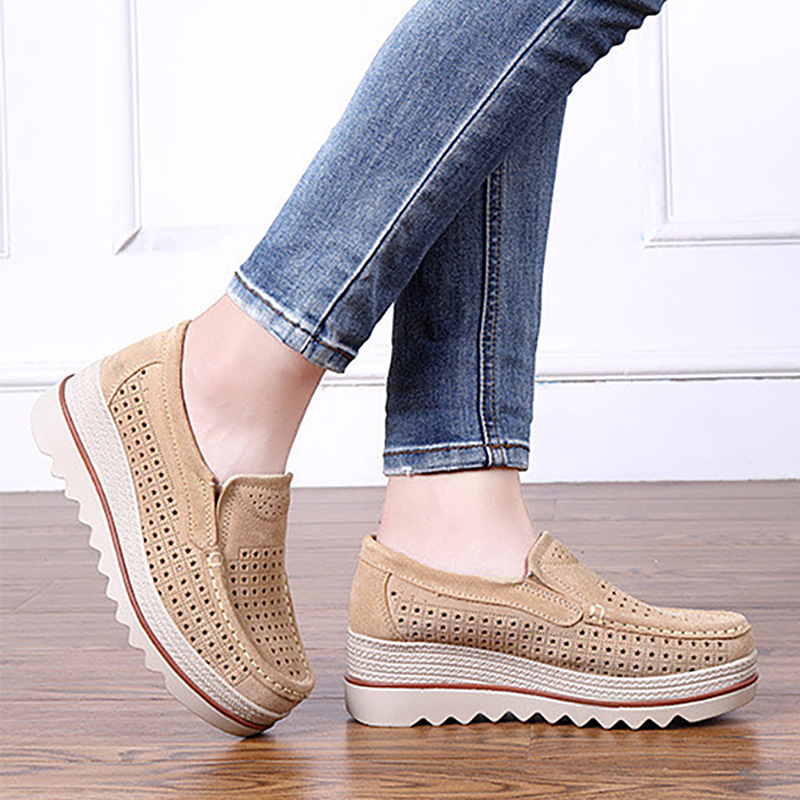 2019 Spring Women flats shoes platform sneakers slip on flat hollow ladies loafers leather casual shoes women creepers Moccasins(China)