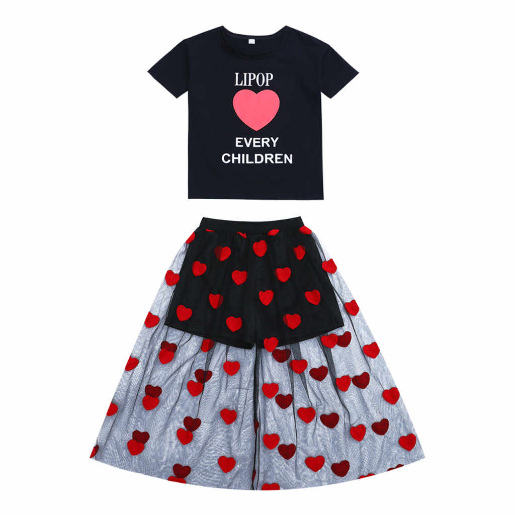 SAGACE Children's Sets toddler kids clothes children\x27s clothing girls clothes new Letter Heart Shape Tops+Dress Outfits Jly8