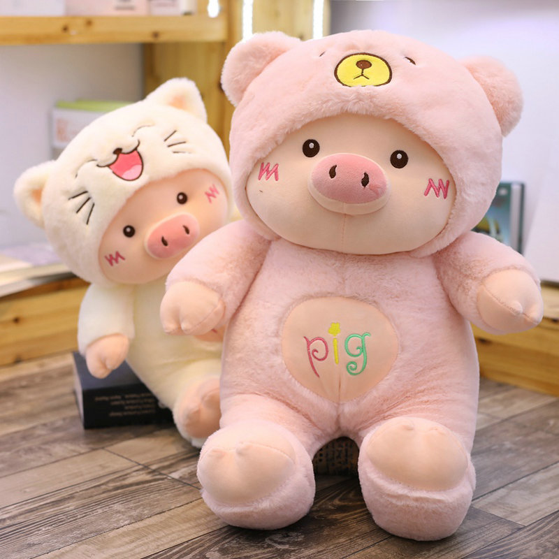 Dressing Pink Pig Plush Toys Bear Dog The Cat Stuffed Animals Pillow High Quality Pig Year Cosplay Piggy Doll Toys for Children stuffed toy