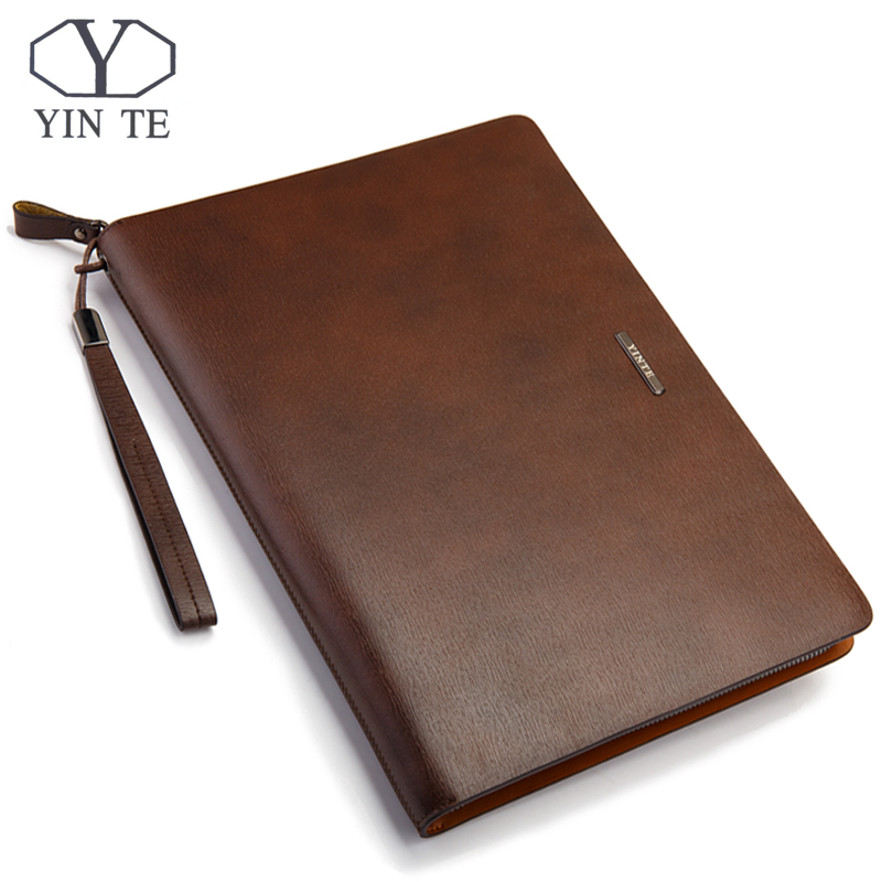 YINTE Fashion Leather File Folder Bag Brown Leather Briefcase File Folder Bag A4 With Zipper Documents Men's Bag Portfolio T5480 moetron fashion portable folder briefcase student file folder a4 paper document bag book documents file organizer bag