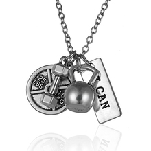Dumbbell 25lb weight Me & Me Weightlifting necklace KETTLEBELL NECKLACE Crossfit Fitness Charm Lifting Weights Jewelry