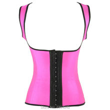 ladies Latex Waist Cincher Trainer corset with shoulder straps metal boned corset vest underbust plus dimension fajas reductoras
