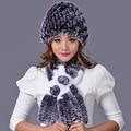 Natural Rex Rabbit Fur Hat Scarf Set With Flower For Women Fashion Winter Handmade Warmfur Real Fur Cap Muffler