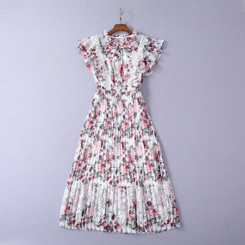 Femmes robes d'été élégant fleurs imprimé longue robe col montant dentelle mousseline de soie Maxi robes volants manches plissée robe