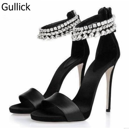 купить Fashion Women Solid Black Shoes Summer Bling Bling Crystal Sample Sweet Branded Thin High Heels Open Toe Back Zipper Sandals по цене 5232.41 рублей