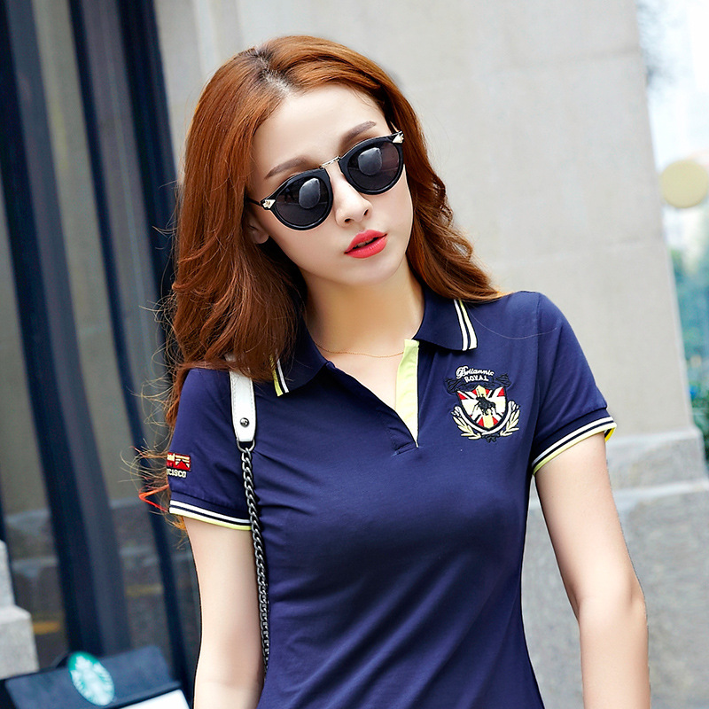 a771691d5f4 M 3XL Women s Polo Shirt Embroidery Cartoon Causal Short Sleeve Ladies Polo  Slim Solid Tops Work Design Shirts Female B007-in Polo Shirts from Women s  ...