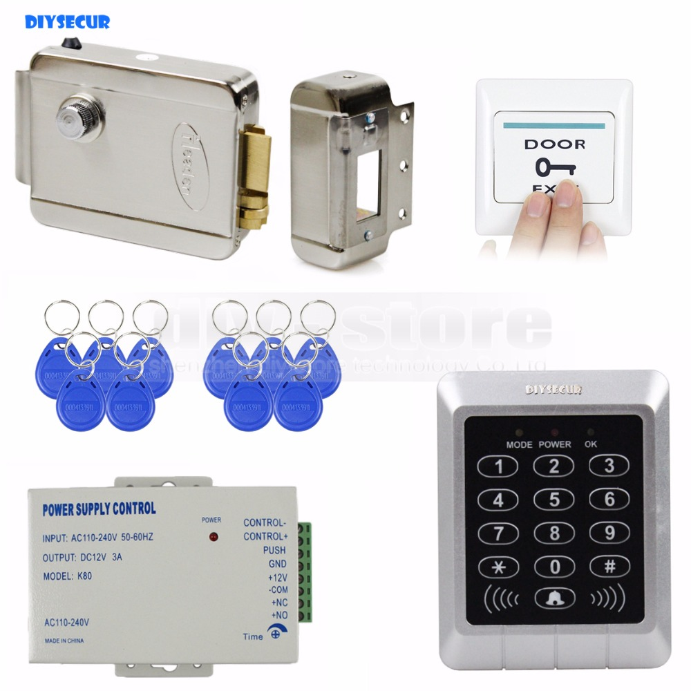 DIYSECUR Full Complete Rfid Card Door Access Control Kit + 10 Free Key Fobs for Office / Home Improvement diysecur full complete 125khz rfid reader keypad card door access control kit strike lock for office home improvement