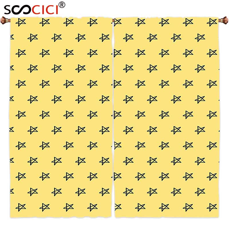 Window Curtains Treatments 2 Panels,Yellow Kindergarten Kids Hand Drawing Sketchy Galaxy Space Theme Stars Image Light Yellow