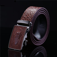 2015338 Men Business Formal Automatic Ratchet Buckle Brown Black Genuine Leather Dress Belt