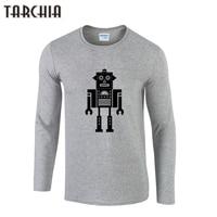TARCHIIA Long Sleeve Robot Print Tshirt Cotton T Shirt Men 2016 Brand Design Summer Mens Fitness