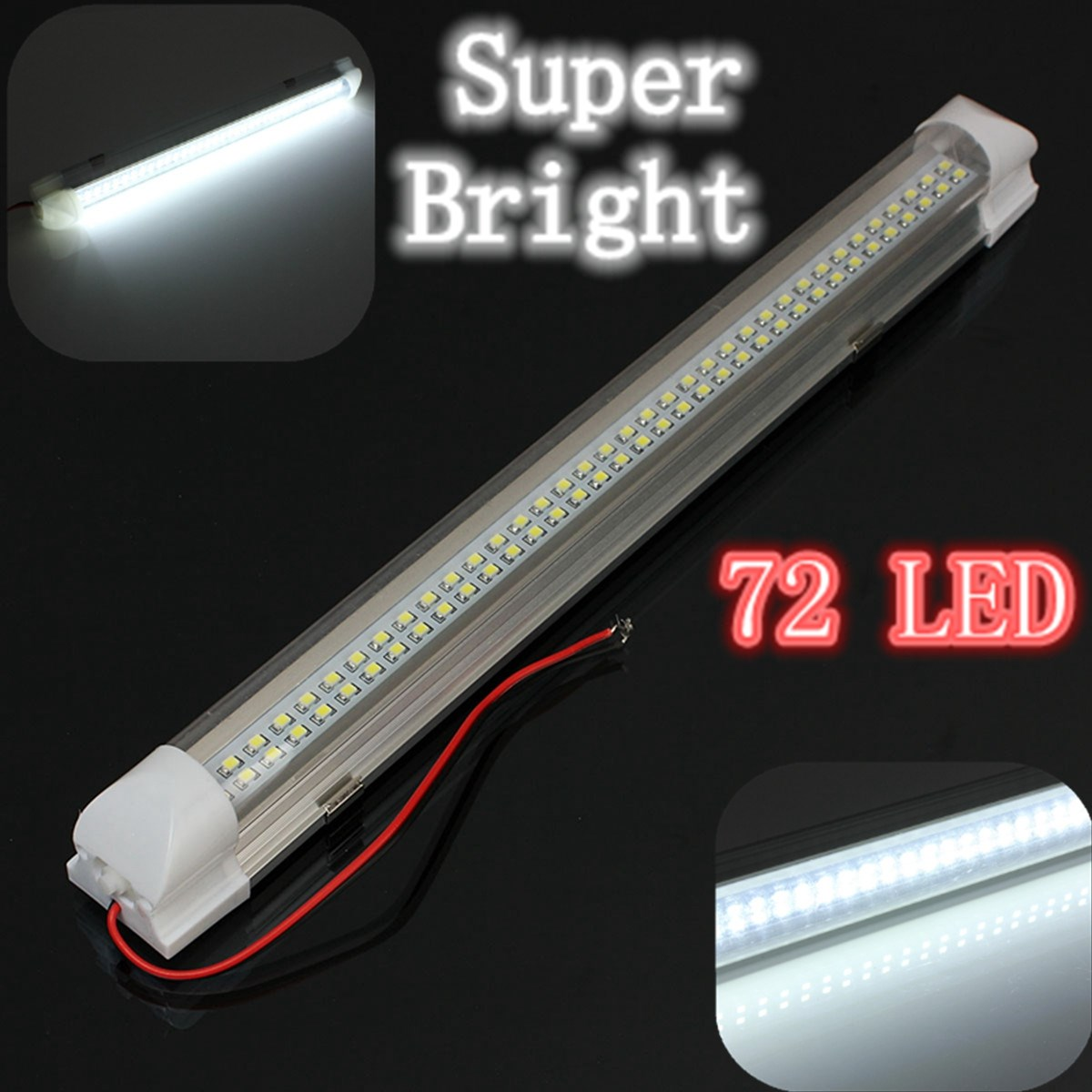 12v universal car auto caravan interior 72 led white light strip bar 340mm lamp on off switch in. Black Bedroom Furniture Sets. Home Design Ideas