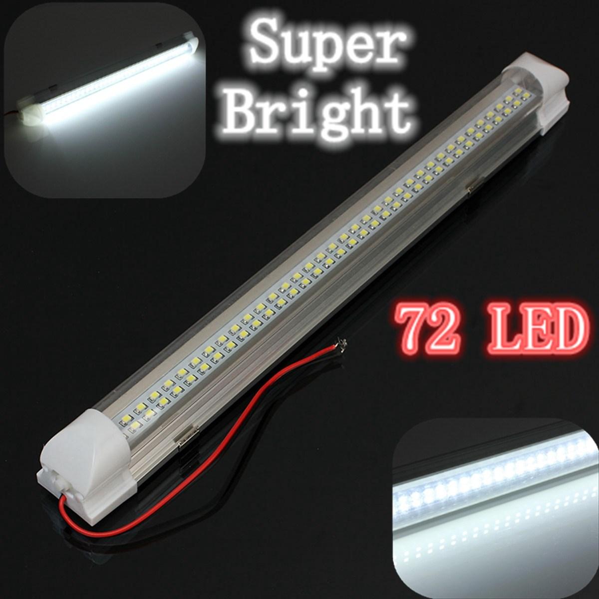 12v universal car auto caravan interior 72 led white light strip bar 340mm lamp on