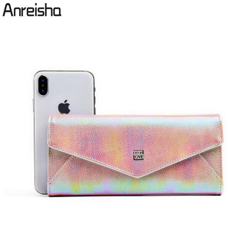 Anreisha 2019 New Design Envelope Wallet For Women Female PU Leather Card Holder Ladies Coin Phone Purse Women Clutch Carteras