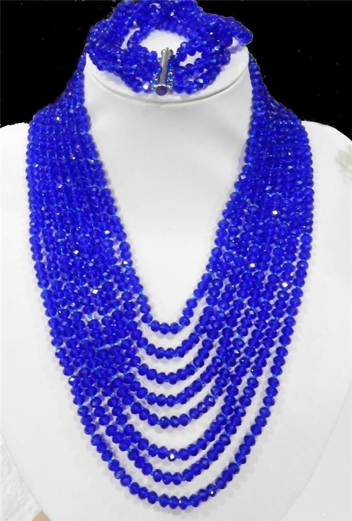 Хит! Очаровательные 8 рядов ювелирные изделия темно синие Хрустальные Бусы цепочка ожерелье 5 рядов Набор браслетов