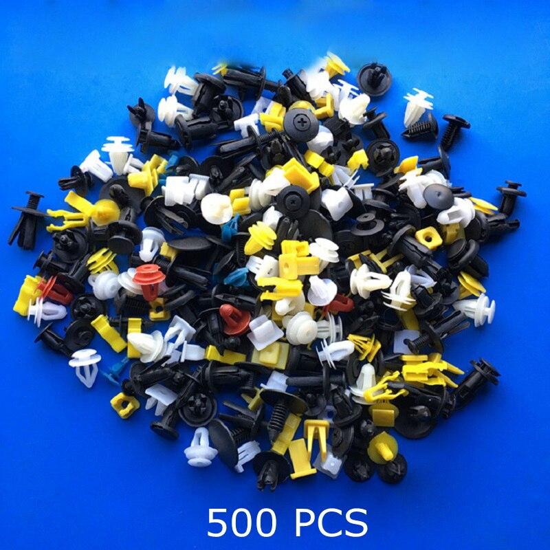 500 PCS Mixte Auto Fixation Véhicule Voiture Pare-chocs Clips de Retenue Fixation Rivet Panneau De Porte Fender Liner Universal Fit pour Tous Les voiture