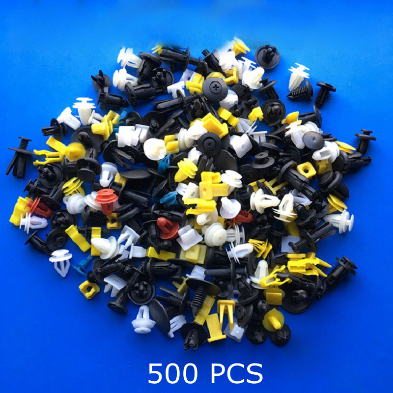 цена на 500PCS Mixed Auto Fastener Vehicle Car Bumper Clips Retainer Fastener Rivet Door Panel Fender Liner Universal Fit for All Car