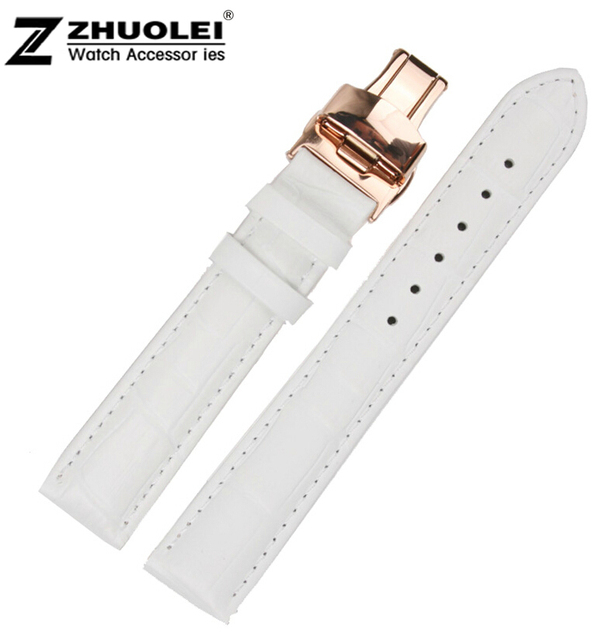b38d03c626e9 18mm New High Quality White Crocodile Pattern Genuine Leather Watch Band  Bracelet Strap Rose Gold Butterfly Clasp Buckle