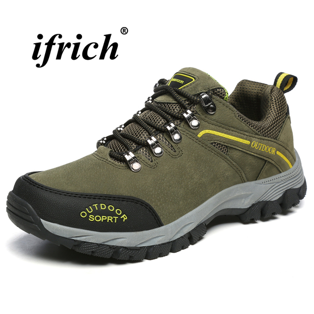 Man Hiking Shoes Plus Size 39-48 Climbing Footwear Army Green Gray Camping Shoes Man Spring Autumn Anti-slip Tactical Sneakers