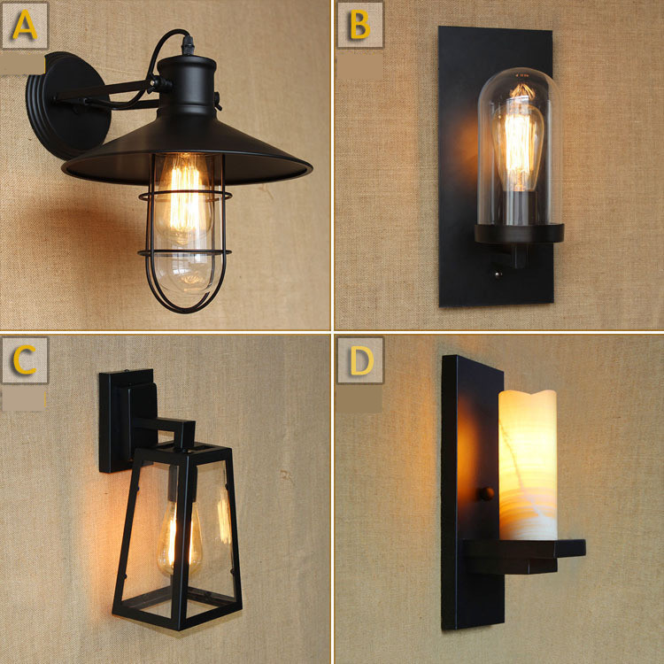 New wall lights E27 plated Loft american retro vintage iron Bar club Bedside lamp 220V with 40W bulb Antique lamp industrial
