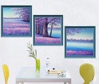 HD Stereo Rakam Boyama Dağ Çam Kırmızı Güneş Gökyüzünde Yükselir 3 Parça Tuval Resimlerinde Dekoratif Tablolar Çerçevesiz
