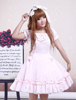Cotton Pink Lace Short Sleeves Cosplay Lolita Dress