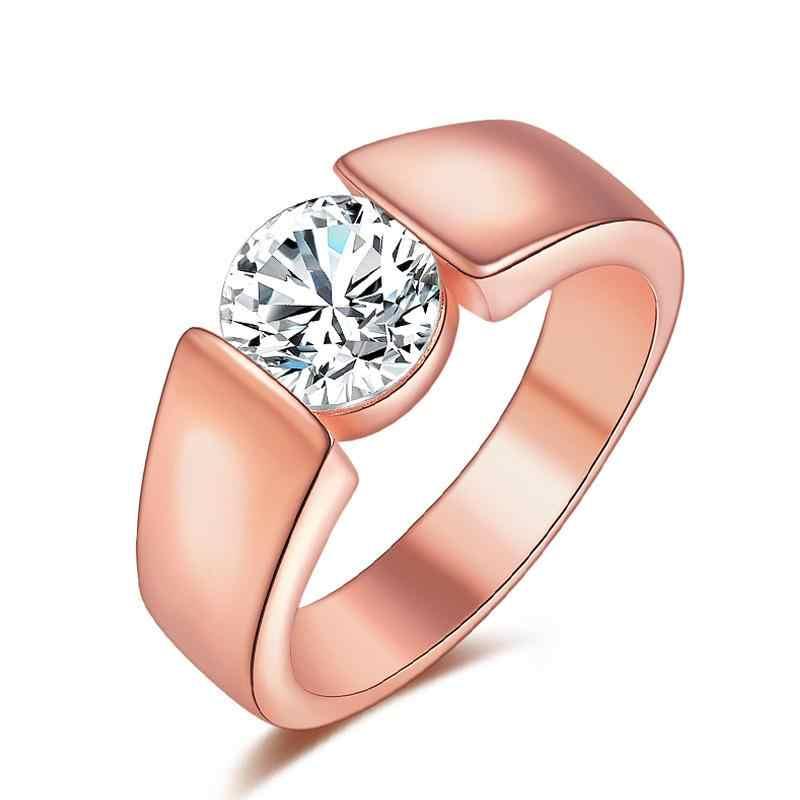 טבעת 925 כסף סטרלינג CZ טבעות לנשים רוז זהב תכשיטי אנל Anillos Mujer Aneis Bague femme תכשיטי Anelli Anillo מתנה