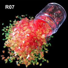 Candy colored translucent UV tool Manicure toe nails 2mm flash 7 colour Sun red Rhombus nail art glitter powder R07