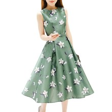 2019 New Women A-Line Dress Floral Printed Ball Gown Ladies Party beach Dress Tunic Sundress Loose Mini Party Dress Vestidos blue random floral printed a line mini dress