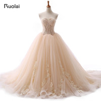 New Arrival Champagne White Ivory Color Ball Gown Sweetheart Wedding Dresses Lace Up Back Appliqued Sequined