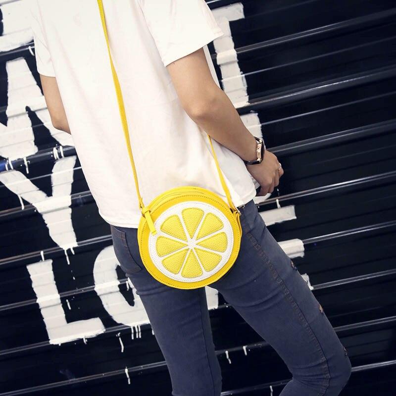 Yogodlns New Arrival Round Lemon Orange Pattern Zipper Crossbody Women Messenger Bag Satchel Purse Shoulder Mini Bags Ladies