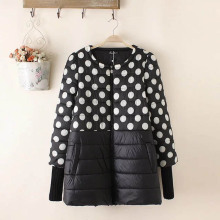 Polka Dot Women Parkas 2017 New Style O-neck Loose Thin Parka Coats Plus Size 3XL TY155