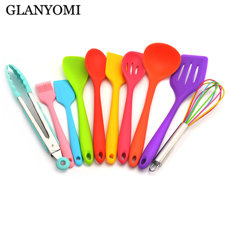 Rainbow 10Pcs/Set Heat-Resistant Silicone Cooking Tool Sets Non-stick Cookware Kitchen Baking Tool Kit Utensils KitchenwareRainbow 10Pcs/Set Heat-Resistant Silicone Cooking Tool Sets Non-stick Cookware Kitchen Baking Tool Kit Utensils Kitchenware