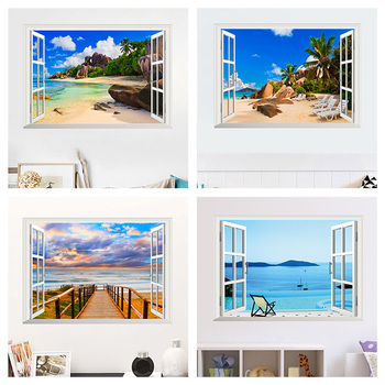 Sea Beach Island 3D Window Wall Stickers