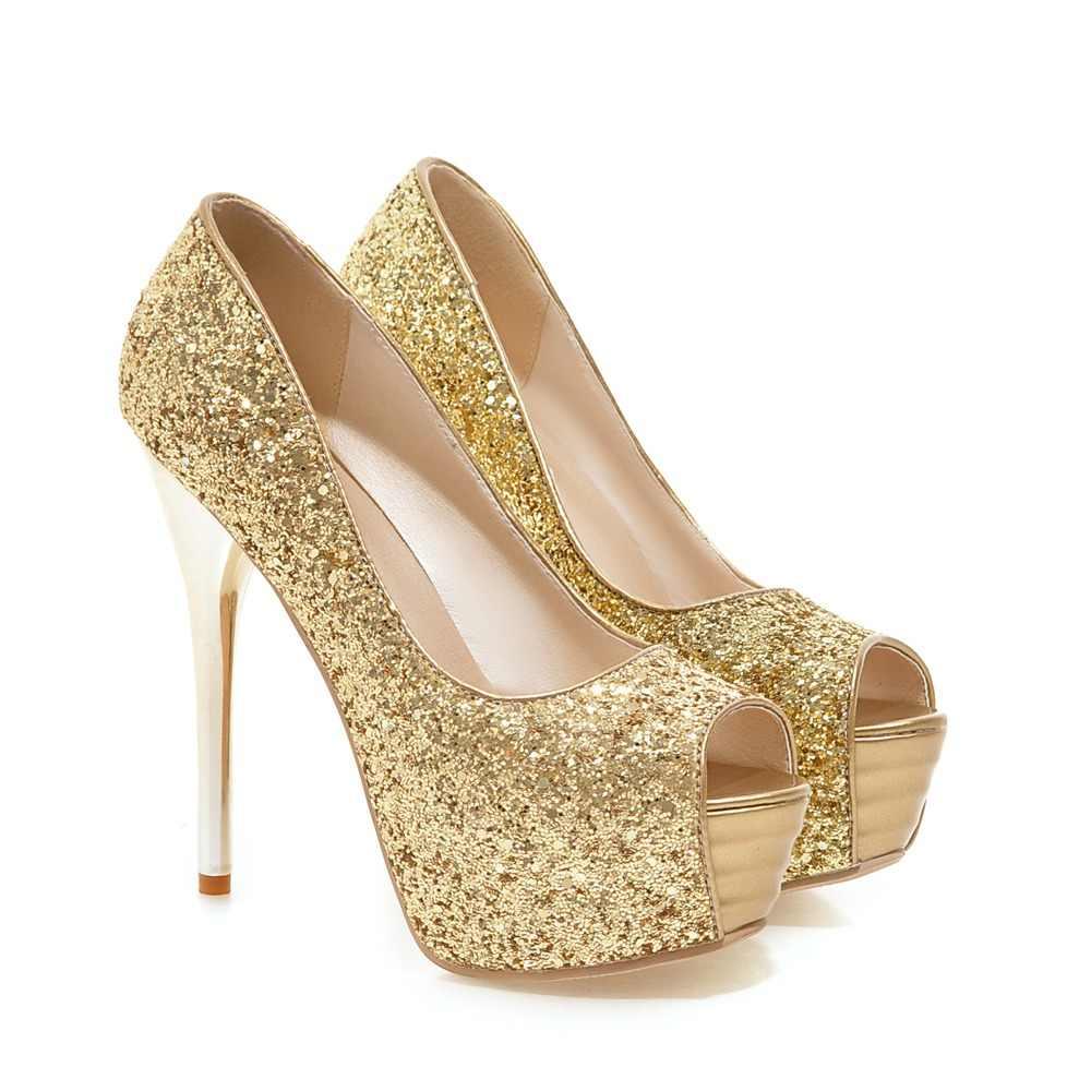 acb184d0afef1 ... Arden Furtado 2018 spring summer fashion high heels 13cm platform  stilettos wedding shoes ladies peep toe ...