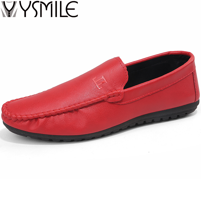 2018 New Fashion Men Leather Casual Shoes Slip On Male Loafers Black Comfortabe Footwear Non-slip Mens Rubber Shoes White Red branded men s penny loafes casual men s full grain leather emboss crocodile boat shoes slip on breathable moccasin driving shoes