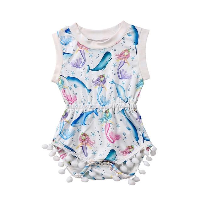 bd0c78cff71 Cartoon Newborn Baby Girl Summer Sunsuit Sleeveless Mermaid Sea World Print  Tassel Romper Jumpsuit Outfits Baby