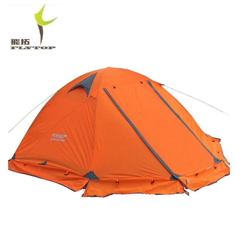 FLYTOP Camping En Plein Air Tente Pour Reste Voyage 2 Personnes 3 Double Couche Coupe-Vent Imperméable Hiver Professionnel Camp Touristique Tente