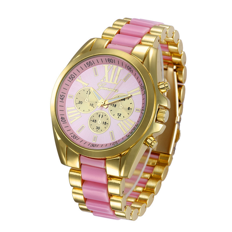 Geneva silicone watch Ladies Golden Stainless Steel Watchband Quartz Watch with Roman Numerals Dial for Women