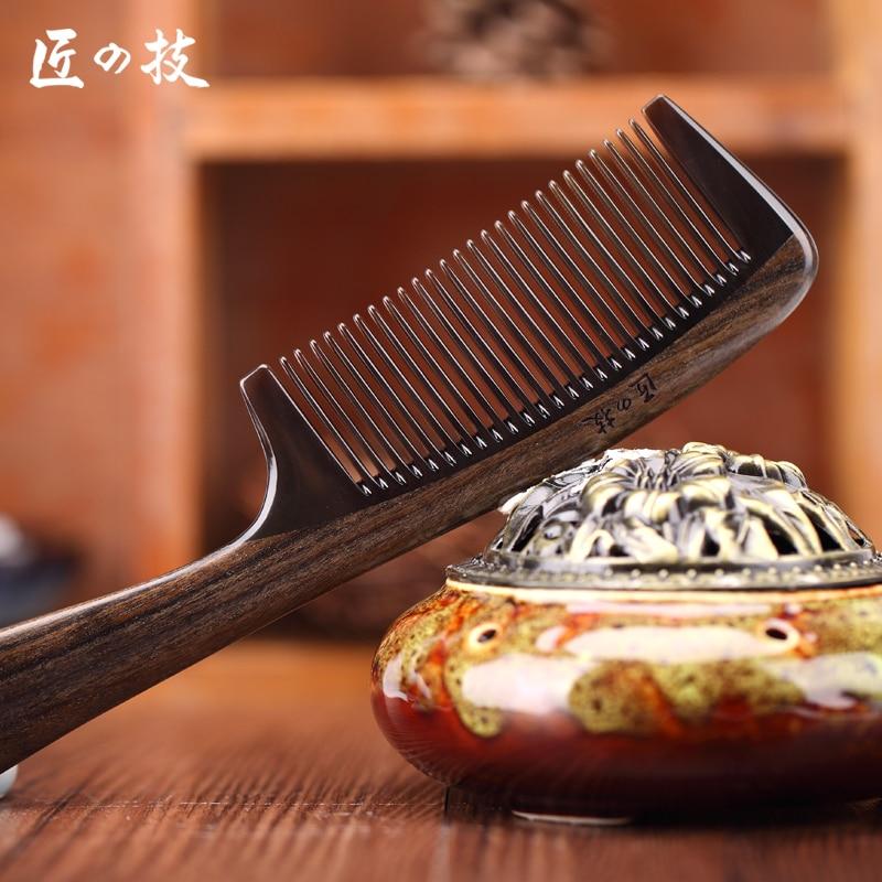 Natuurlijke houthoornkam Groot met handvat massagekar anciënniteit - Haarverzorging en styling
