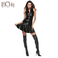 5 Yards PVC Faux Leather Dress Zipper Deep V Tight Plastic Paint Leather Skirt Motorcycle Clothing Night Pole Dance Costumer