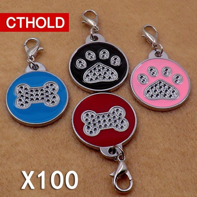 100 pcs/lot nouvelle forme d'os chien griffe Pet chien ID étiquettes retour maison taille 25*25mm personnalisé gravure chiot chat plaque signalétique étiquette
